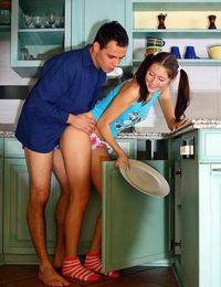 Daring hotshot drilling a teenage beauty in the kitchen