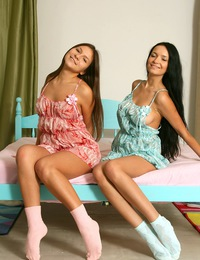 Ramming her small dildo up her friends tight damp cooter